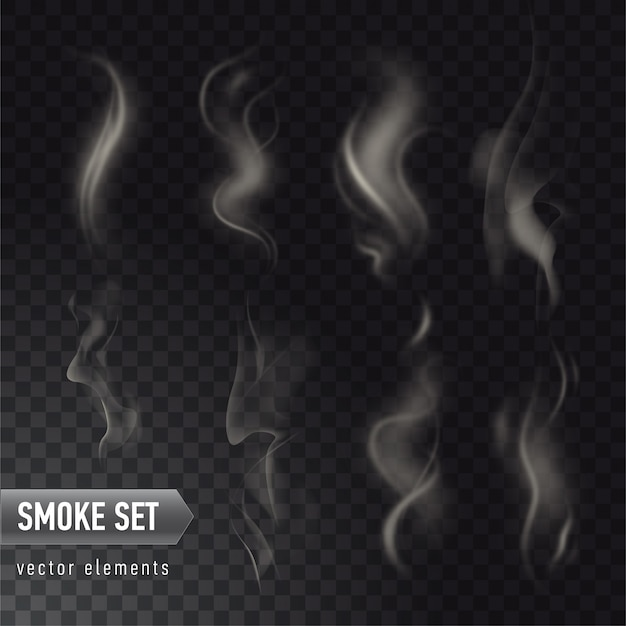 Collection of different realistic high detailed smokes from hot food or drink isolated on transparent background