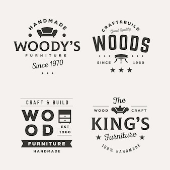 Collection of different retro furniture logos