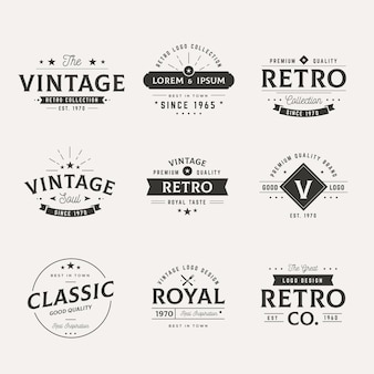 Collection of different retro logos
