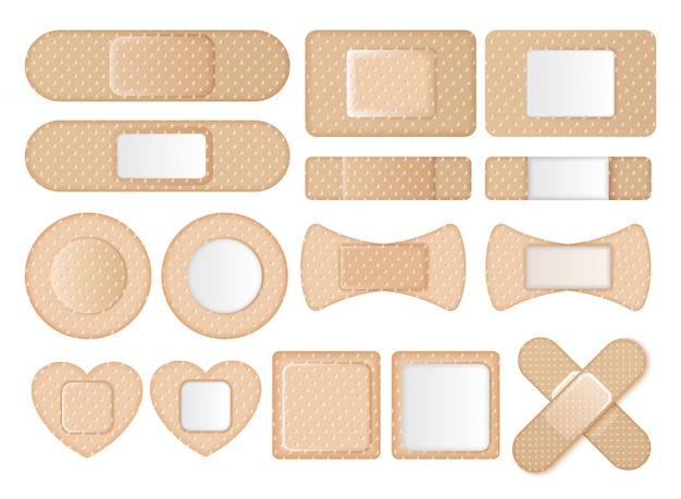 Collection of different shaped band aids