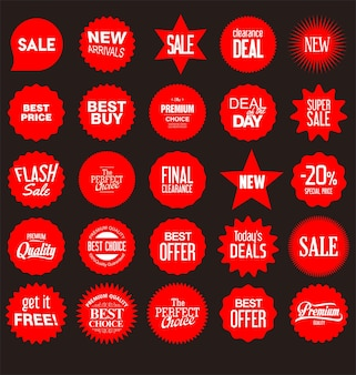 Collection of different shapes stickers price tag icon