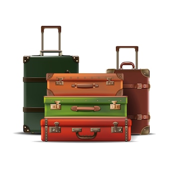 Collection of different sizes travel luggage retro old style in leather isolated on white background