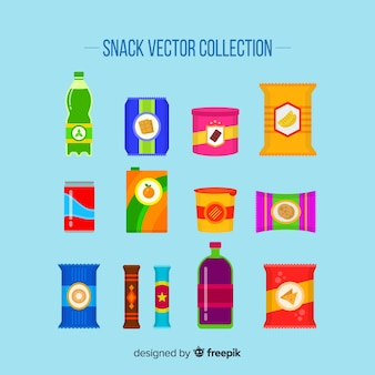 Collection of different snacks Free Vector