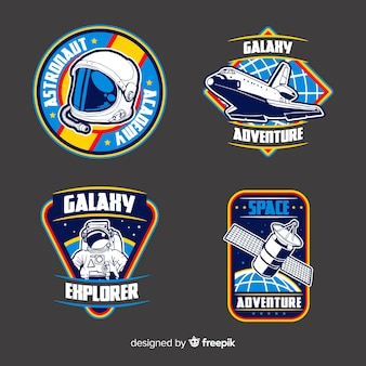 Collection of different stickers with space
