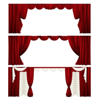 Collection of different theater curtains. red velvet drapes. scenes.