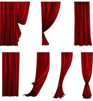 Collection of different theater curtains. red velvet drapes.