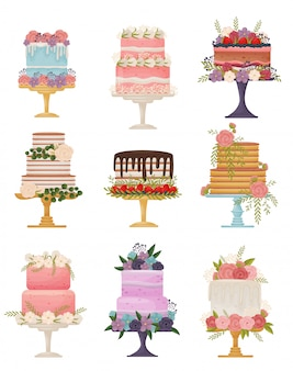 Collection of different types of cakes on a stand.  illustration on white background.