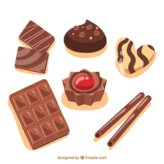 Collection of different types of chocolate