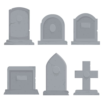 Collection of different various gravestones   illustration