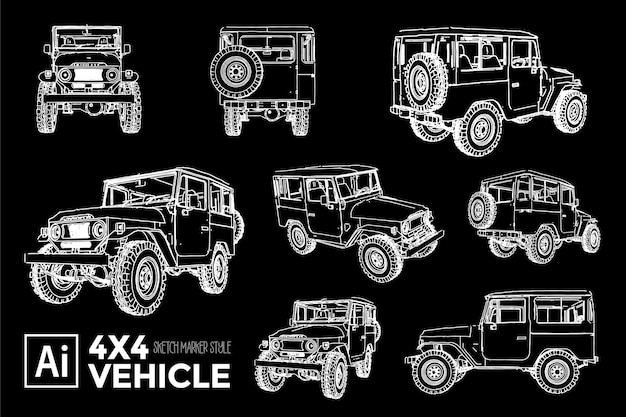 Collection of different views of classic 4x4 car silhouettes. marker effect drawings.