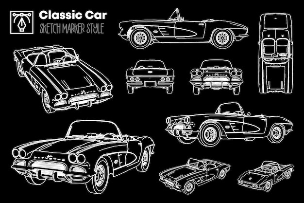 Collection of different views of classic car silhouettes. marker effect drawings.