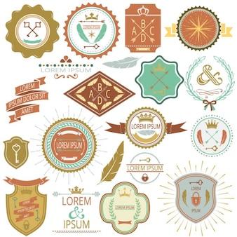 Collezione di etichette vettore d'epoca e francobolli