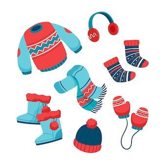 Raccolta di diversi vestiti invernali