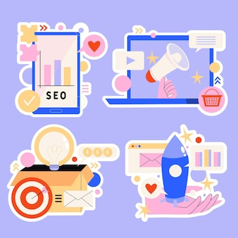 Collection of digital marketing strategy stickers