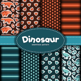 Collection of dinosaur seamless pattern