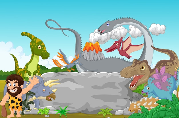 Collection dinosaur with caveman waving