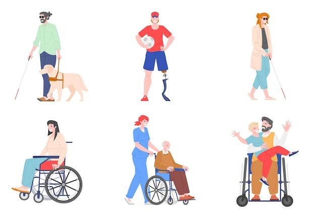 Collection of disabled people illustration