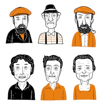Collection of diverse hand drawn faces.