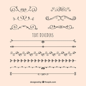 Collection of dividers and vintage hand drawn ornaments