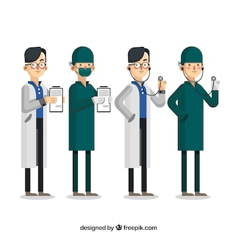 Collection of doctors with clipboard and stethoscope