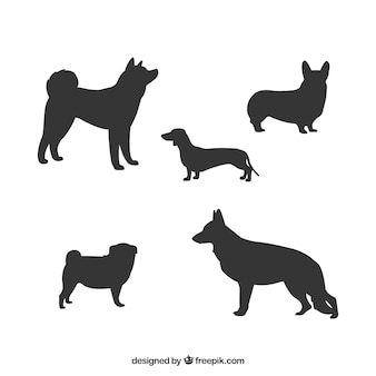 Collection of dog silhouettes