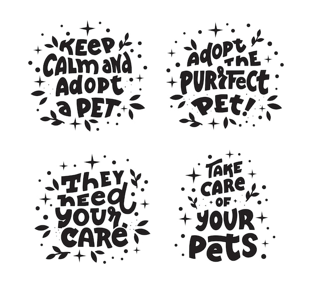 The collection of dogs and cats with quotes about pets care adopt a pet today
