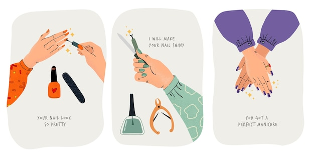 Collection of done manicure illustrations