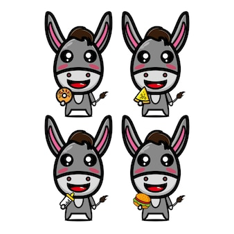 食べ物を保持しているコレクションロバセットベクトルイラストフラットスタイル漫画キャラクターマスコット