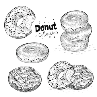 Collection of donut in hand drawn