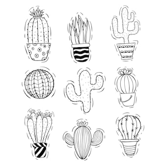 Collection of doodle cactus with cactus pot