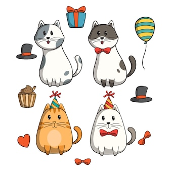 Collection of doodle cat celebrate a birthday party