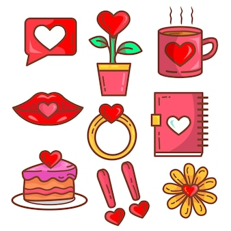 Collection of doodled valentine's day elements