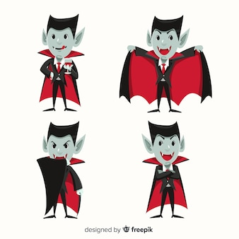 Collection of dracula vampire character in flat design