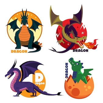 Collection of dragon colored vector cartoon templates