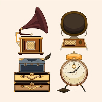 Collection of drawn antique market elements