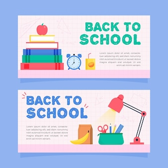 Collection of drawn back to school banners