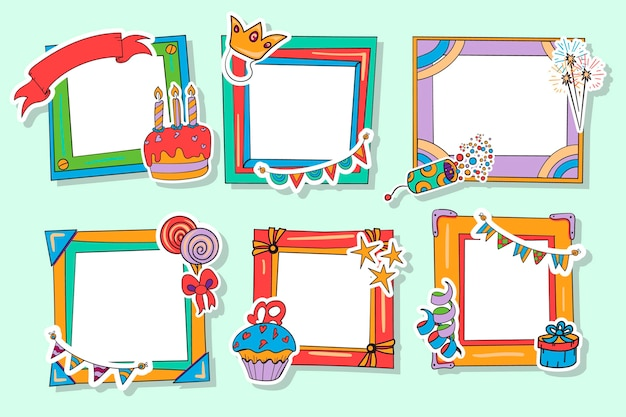 Collection of drawn birthday collage frame