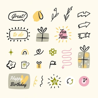 Collection of drawn bullet journal elements