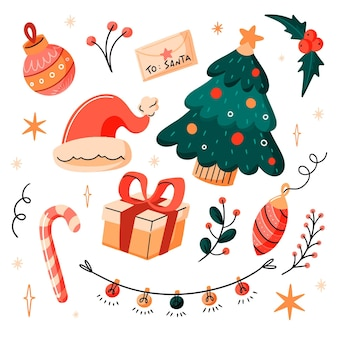 Collection of drawn christmas elements