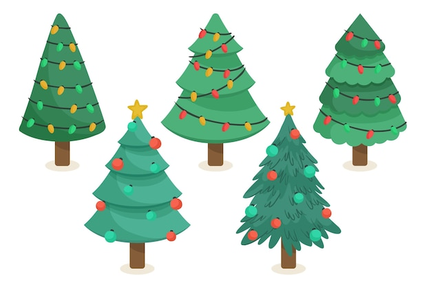 Collection of drawn christmas trees with ornaments