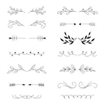 Collection of drawn elegant ornamental divider