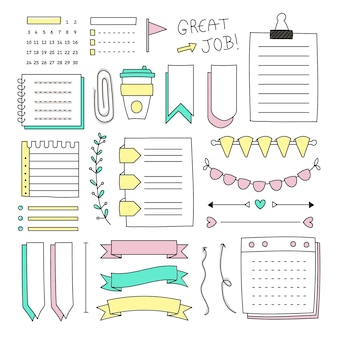 Collection of drawn elements for bullet journals