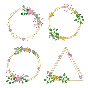 Collection of drawn floral frames