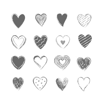 Collection of drawn grey hearts