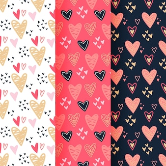 Collection of drawn heart patterns