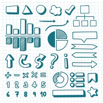 Collection of drawn infographic elements Free Vector