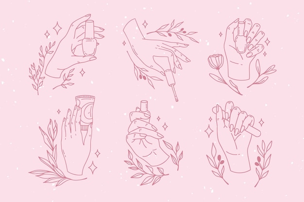 Collection of drawn manicure hand