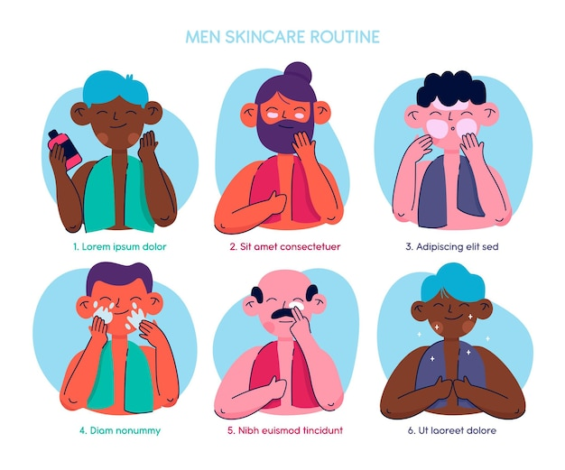 Collection of drawn men doing their skincare routine