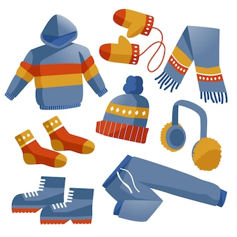 Collection of drawn winter clothes