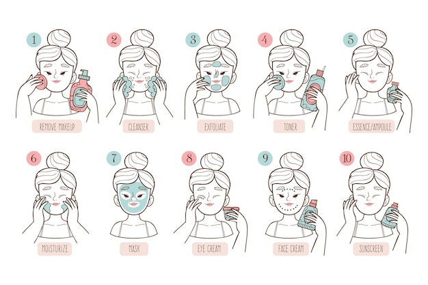 Collection of drawn woman doing her korean skincare routine